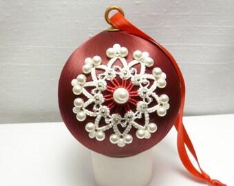 Christmas Ornament -Tatted Snowflake on Satin Ball -Snowball No.6