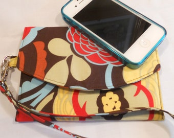 """iPhone / Smart Phone - Wristlet-Wallet in """"Mocca"""" by Alexander Henry - For the iPhone 4 and 5"""