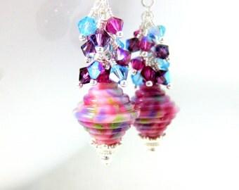 Colorful Crystal Dangle Earrings, Bright Pink Purple Blue Earrings, Ribbed Lampwork Earrings, Pastel Jewelry, Spring Earrings - Fun Confetti