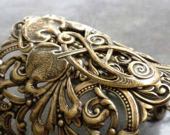 Leaf Jewelry Statement Cuff Celtic Wide Bracelet
