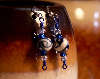 Blue and White Ceramic Bead Earrings