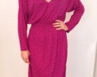 1970s 1980s French vintage rasperry purple pink dress with deep v neckline - small, medium to large S M L
