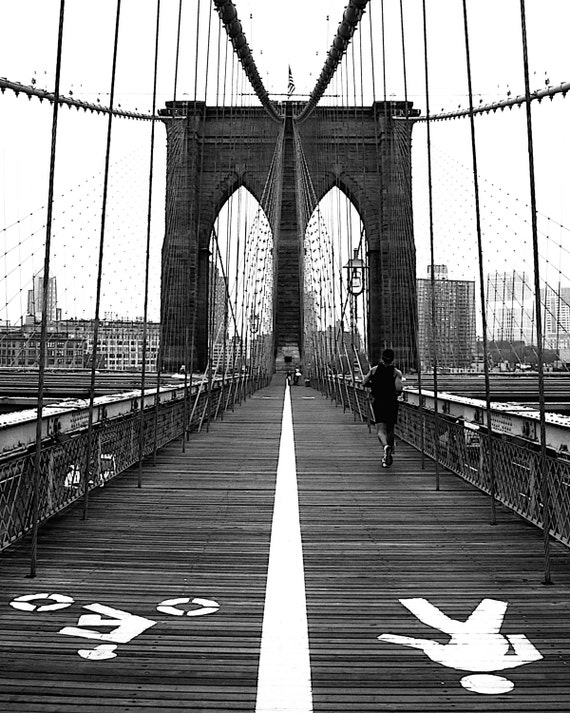 All Ways Lead To Brooklyn - NYC Brooklyn Bridge I love New York City NYC New Yorker Big Apple Wall Decoration Fine Art Print 8x10