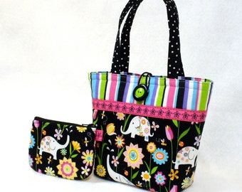 Cute Floral Elephants Little Girls Purse Mini Tote Bag and Coin Purse Set Handmade Hot Pink Turquoise Black MTO