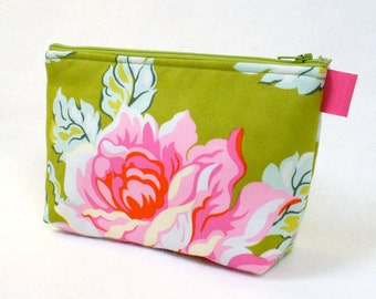 Large Cosmetic Bag Heather Bailey Fabric Zipper Pouch Padded Makeup Bag Cotton Zip Pouch Hello Roses Olive Green Pink Red Aqua Floral MTO