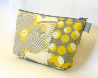 Amy Butler Fabric Large Cosmetic Bag Zipper Pouch Padded Makeup Bag Cotton Zip Pouch Optic Blossom Martini Mustard Yellow Gray Floral MTO