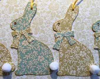 Die cut Easter bunny tags, set of 4, with cotton tails!