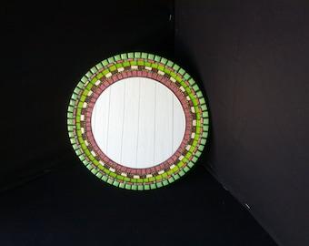 Round Mosaic Mirror - Green