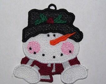 Machine Embroidery Design-FSL-Snowman Ornament for 4x4 Hoop.