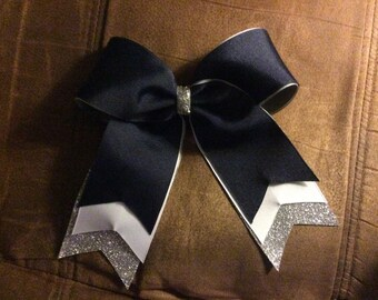 Trio Layer cheer bow - navy - white - silver glitter - flat center