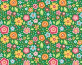 Sale Riley Blake Designs Sunshine Main Green Floral by Zoe Pearn 100% cotton