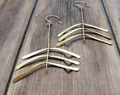 Fern Lily - Hand forged brass Earrings - Artisan Tangleweeds Jewelry