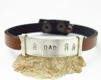 Mens Leather Cuff Bracelet - CUSTOM Stamped - Fathers day - Gift for Him - Valentines Day