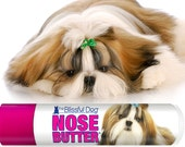 Shih Tzu NOSE BUTTER® Handcrafted Organic Balm for Dry, Crusty Dog Noses .15 oz Tube with Glorious Shih Tzu on Label in Organza Gift Bag