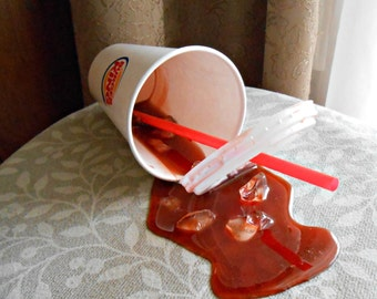 Fake Spilled Cola Pop Drink in a BK Paper Cup Fun Prop Gag