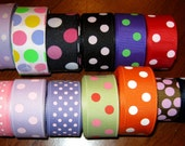 61 yards WHOLESALE Lot of Polka Dots Grosgrain Ribbons in a 7/8 inch Width