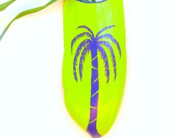 Palm Tree Vase Painted Palm Frond Purple Palm Tree Original Wall Decor Vase Reclaimed Wood Tropical Beach Coastal Decor