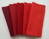 Red Hand Dyed and Felted Wool Fabrics Perfect for Rug Hooking and Applique 6015