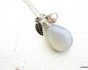 Pale Blue Chalcedony Necklace , Leaf Necklace , Pearl Necklace , Gemstone Necklace , Modern  , Silver Necklace