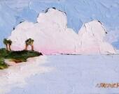 Impressionist Beach Painting FLORIDA Palm Tree Ocean Plein Air Landscape Lynne French Art 9x12