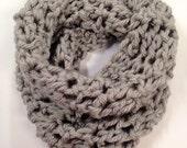 Grey hand crochet cowl scarf