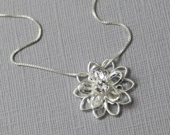 Silver Flower Necklace, Swarovski Crystal Flower Necklace, Bridesmaid Necklace, Bridesmaid Gift, Flower Girl Necklace, Flower Girl Jewelry