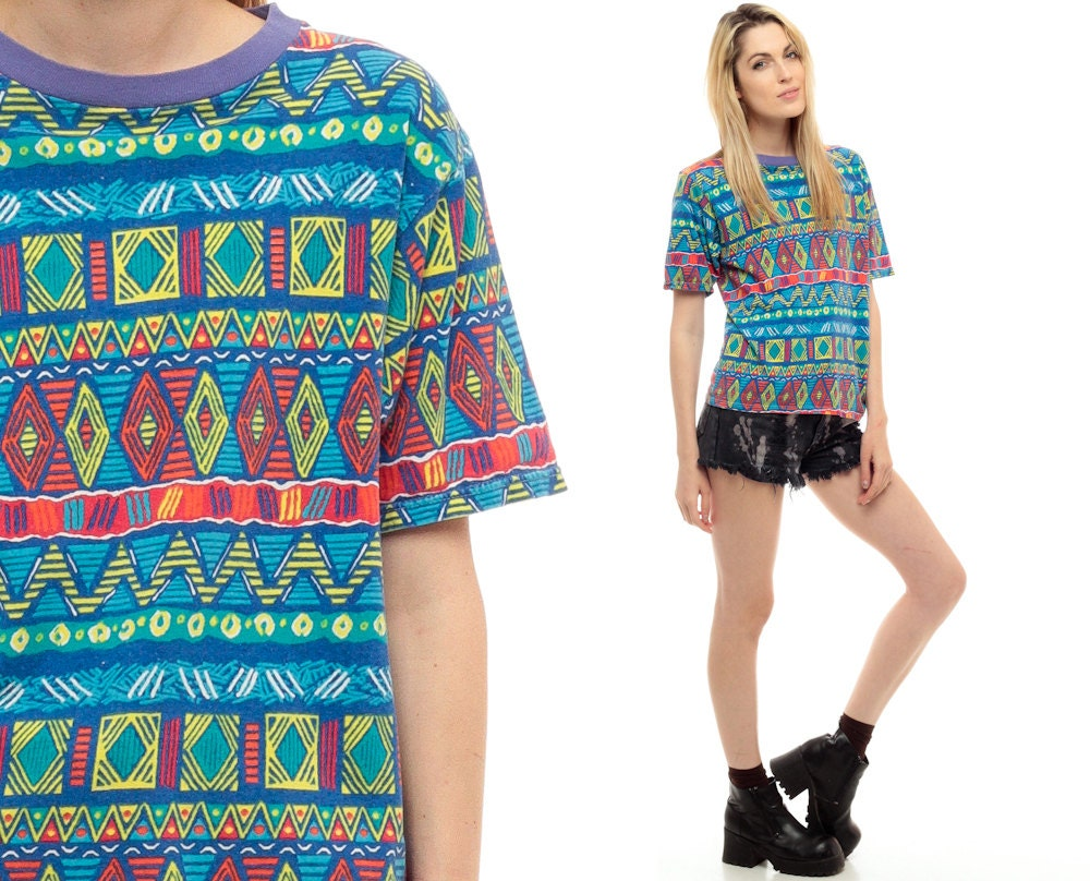 Aztec Sunset T-shirt Tribal t Shirt Neon Aztec