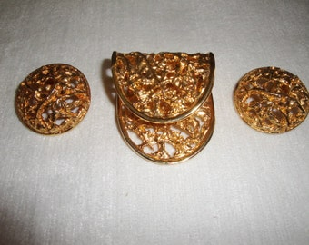 Vintage Mosell Gold Tone Modernistic Brooch and Earring Set