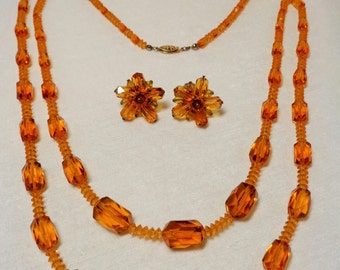 Vintage Czech Amber Glass Bead Necklace and Earring Set