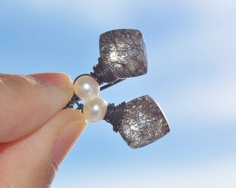 Black Rutilated Quartz Earrings Sterling Silver with Freshwater Pearls - Wire Wrapped - diamond - checkerboard cut - square briolette