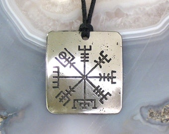 Viking Compass Pendant Stainless Steel Etched - See the Way Home, Traveller Vegvisir Rune LARGE