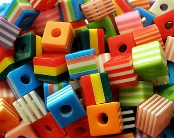 Striped Resin Cube Beads 10mm  (25)