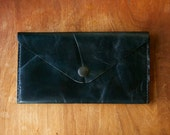 Leather Wallet - Envelope Style - The Lupe - in Restoration Black - Ready to Ship