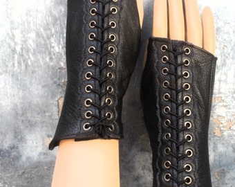 Steampunk Fingerless Gloves in Black Leather with Antiqued Brass Accent