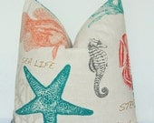 Pillow Cover, Decorative Pillow, Throw Pillow, Toss Pillow, Sofa Pillow, Nautical, Sea Creatures, Fish, Seahorse, Starfish, Home Furnishing