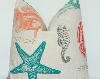 Pillow Cover, Decorative Pillow, Throw Pillow, Toss Pillow, Sofa Pillow, Nautical, Sea Creatures, Fish, Seahorse, Starfish, Home Furnishing