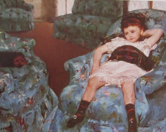 Mary Cassatt-Little Girl in a Blue Armchair,1878, Color Plate/ Book Print/8 x 5.5 in