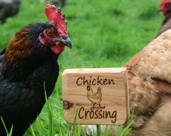 Chicken Crossing Sign- Cedar Chicken Sign- Wooden Natural Garden Sign- Natural Garden/Farm Decor