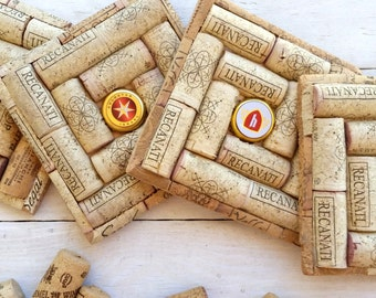 Wine Cork Coasters - Set of 4 Wedding Favors, Bridal Shower Gift, Wine Themed Wedding, Wine Themed Party