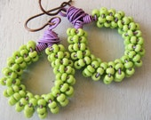 Reserved for Carla--Spring--Green and Purple Seed Earrings