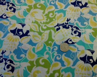 """On Sale Bright Springy Scrolling Floral Print Quilters  Quality 100% Cotton 1 yard x 44"""""""