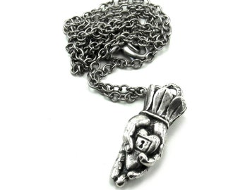 Goth Boho Reversible Hand Necklace - My Heart Is In Your Hands - Romantic Antiqued Sterling Silver Plated Hand and Heart Lock