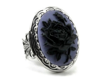 SALE 50% OFF Gothic Mourning Ring - Adjustable Black on Purple Rose Cameo Photo Locket Ring with Silver Plated Band - By Ghostlove
