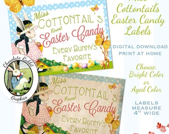 Vintage Style Easter Rabbit Candy Label Instant Digital Download Printable DIY Gift Tag Scrapbook Collage Sheet Retro Graphic Image