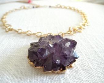 Large amethyst druzy -druzy necklace - purple necklace - lotus flower - gold necklace - D R U Z Y 024