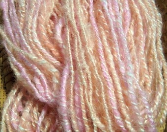 Handspun Wool Yarn 60 yards 10-12 wpi Peach and Pink Pastel