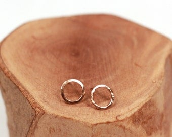 tiny hammered rose gold circle post earrings
