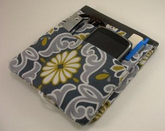 Scrubs Pocket  Organizer - Nurse Pocket Case - Cargo Pocket OrganizerYellow and Gray Damask - Made to Order - Student Gift- Two Sizes