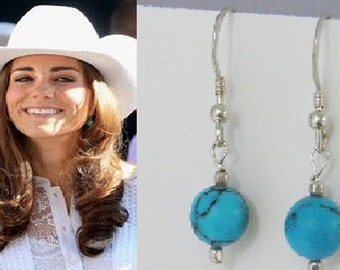 Kate Middleton Jewelry, Duchess of Cambridge Inspired Turquoise & Silver Earrings