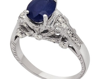 3.71w oval cut medium blue SAPPHIRE & diamonds engagement ring SA2500